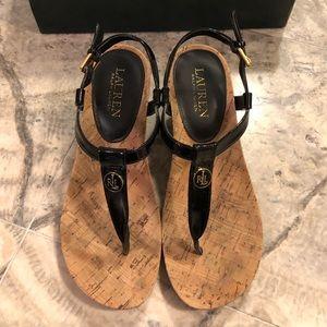 Ralph Lauren Reeta Black Patent Suede Sandals